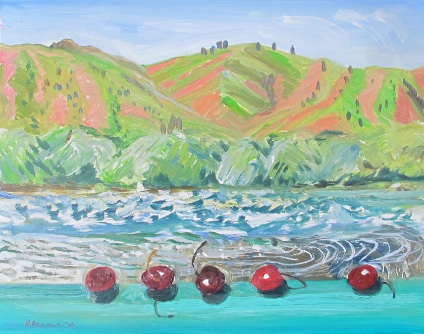 Wenatchee River and Five Cherries, 12 by 14 in. oil on board, Emilia Kallock 2016