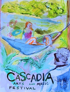 Cascadia Plein Aire 1, watercolor on paper, 11 by 9 in. Emilia Kallock 2016