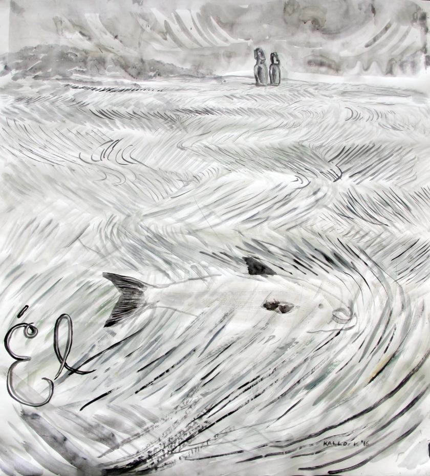 Él, watercolor on paper, 47 by 43 in. Emilia Kallock 2016