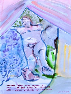 Nathan Taking A Nap Nude in The Tent, watercolor on paper, 11 by 9 in. Emilia Kallock 2016