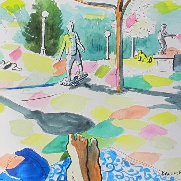 Cal Anderson Park 3, watercolor and ink on paper, 7 by 9 in. Emilia Kallock 2016