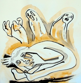 Despair 6, watercolor on paper, 7 by 7 in. Emilia Kallock 2016