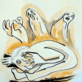 Despair 6, watercolor on paper, 7 by 7 in. Emilia Kallock 2016