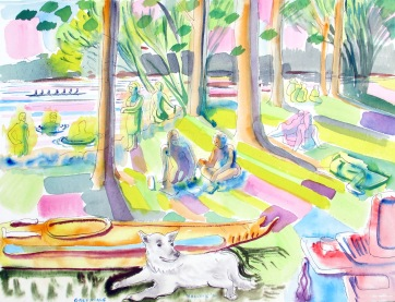 Greenlake, watercolor on paper, 12 by 14 in. Emilia Kallock 2006