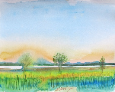 Skagit Estuary, watercolor on paper, 6 by 9 in. Emilia Kallock 2016
