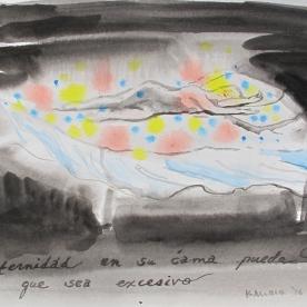 Eternidad En Su Cama Puede Que Sea Exesivo, watercolor on paper, 6 by 8 in. Emilia Kallock 2016