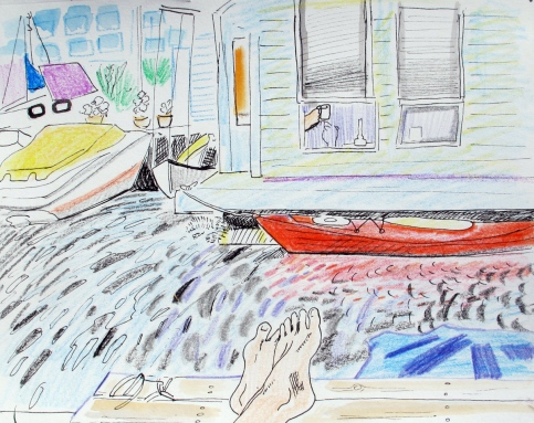 Floating Houses 2, crayon, colored pencil and watercolor on paper, 7 by 9 in. Emilia Kallock 2016