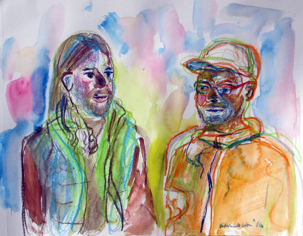 Jeff and Shannon, watercolor pencil on paper, 8 by 10 in. Emilia Kallock 2016