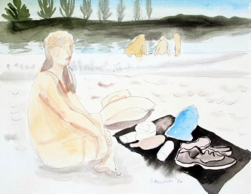 Skagit River Picnic, watercolor on paper, 7 by 9 in. Emilia Kallock 2016