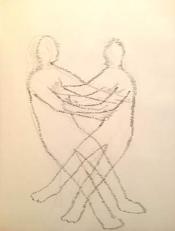 Figures Together, pen on paper, 10 by 8 in. Emilia Kallock 2016