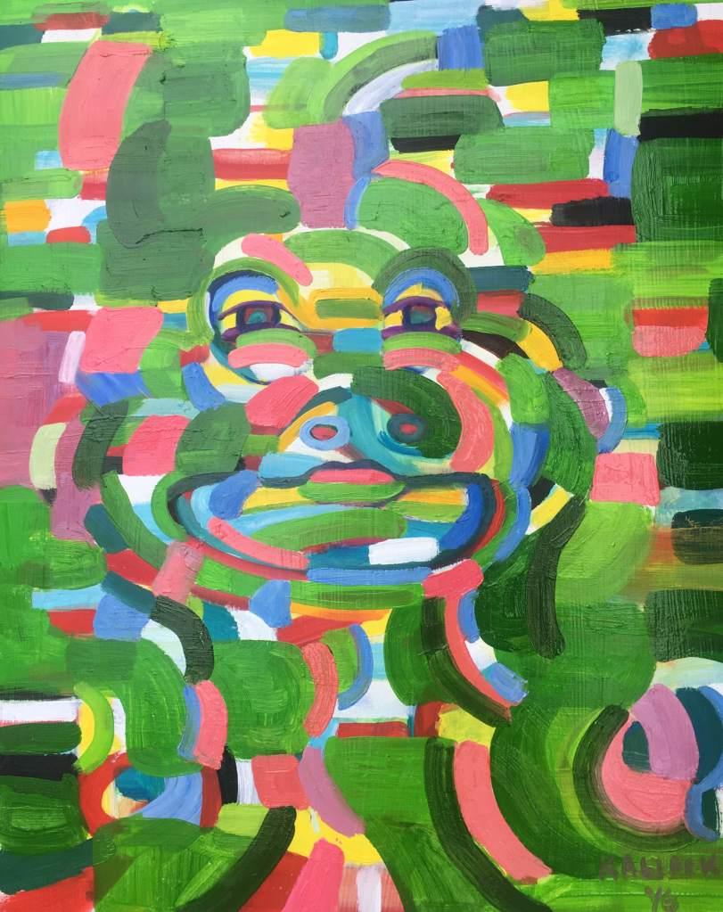 Portrait in Green Activation, oil on board, 20 by 16 in. Emilia Kallock 2016