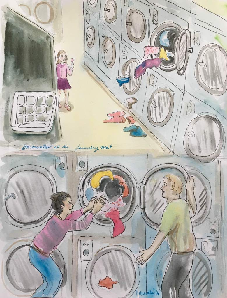 Encounter at the Laundry, watercolor and pen on paper, 10 by 8 in. Emilia Kallock 2016