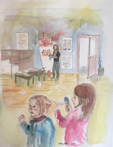 Theodora's Studio, watercolor on paper, 10 by 8 in. Emilia Kallock 2016