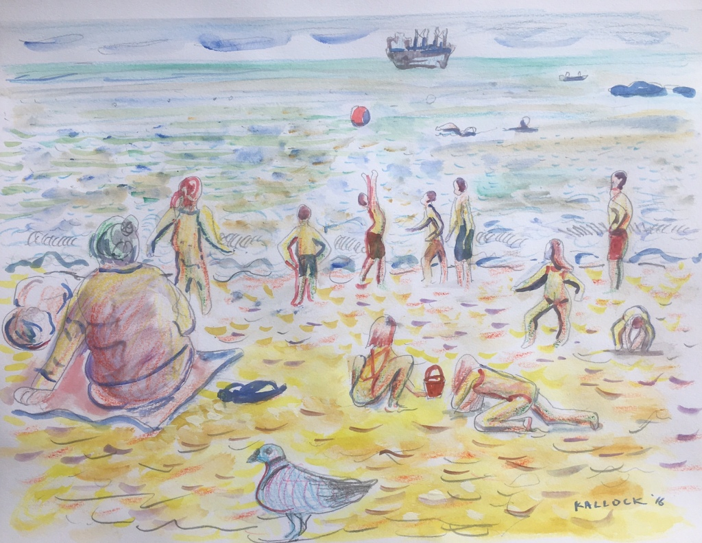 Playa Caleta Abarca, Chile, watercolor and pencil on paper, 8 by 10 in. Emilia Kallock 2016