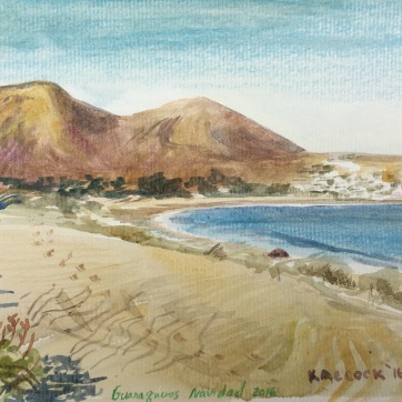 Beach in Guanaqueros, Chile, watercolor on paper 6 by 8 in. Emilia Kallock 2016