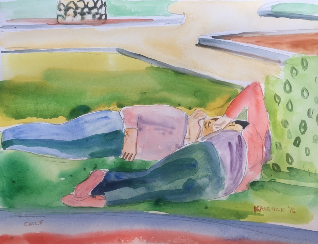 Niñas en la Plaza 2, watercolor on paper, 8 by 10 in. Emilia Kallock 2016