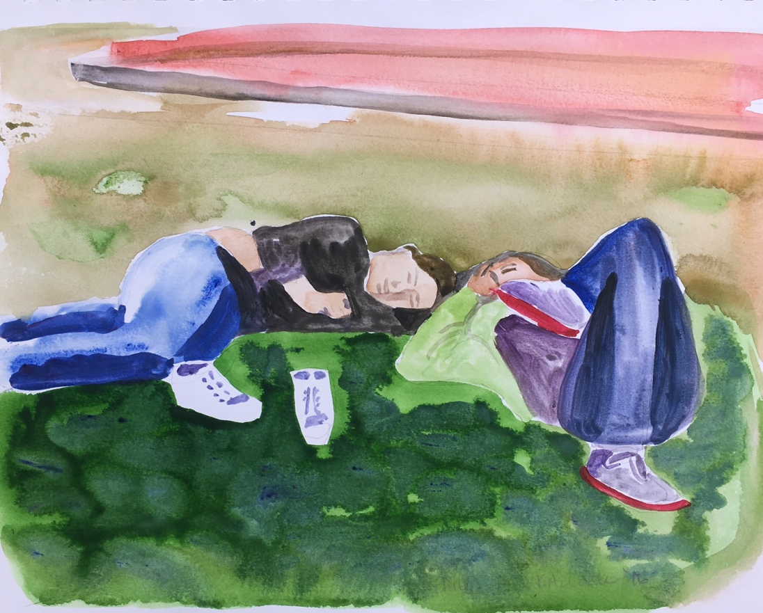 Niñas en la Plaza, Chile, watercolor on paper, 8 by 10 in. Emilia Kallock 2016