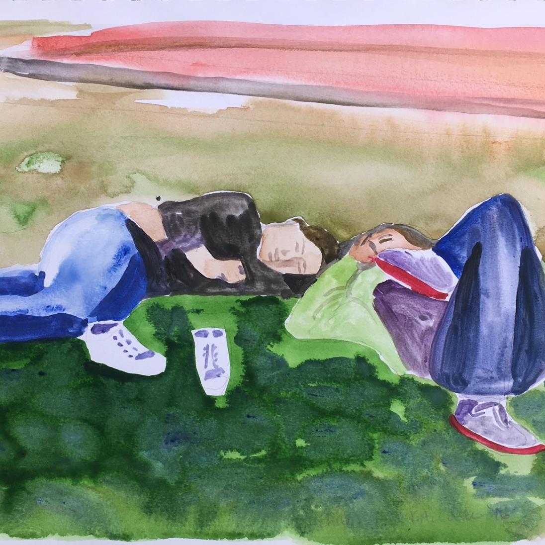 Niñas en la Plaza, Chile, watercolor on paper, 8 by 10 in. Emilia Kallock 2016