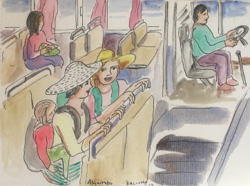 Two American Moms Talking on a Chilean Micro Bus, watercolor on paper, 7 by 9 in. Emilia Kallock 2017