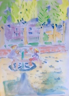 Antonia and Gabriella en Plaza Belloto, watercolor on paper 11 by 9 in. Emilia Kallock 2017