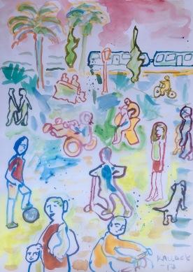 Plaza Villa Alemana, watercolor on paper, 11 by 9 in. Emilia Kallock 2017
