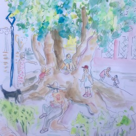 Tree in the Plaza, watercolor and pen on paper, 11 by 9 in. Emilia Kallock 2017