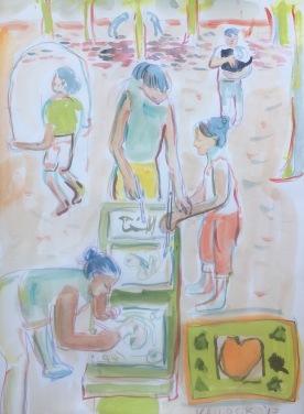 Pintando en el Parque, watercolor on paper, 10 by 8 in. Emilia Kallock 2017