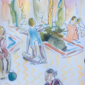 Plaza Scene, watercolor and ink on paper, 7 by 5 in. Emilia Kallock 2017