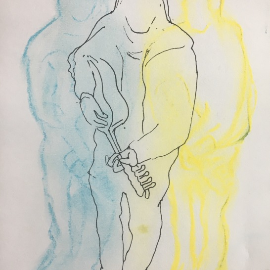 Guitarist, chalk pastel and pen on paper, 6 by 10 in. Emilia Kallock 2017