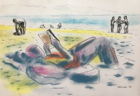 Reading on the Beach, Chile, chalk pastel and pen on paper, 6 by 10 in. Emilia Kallock 2017