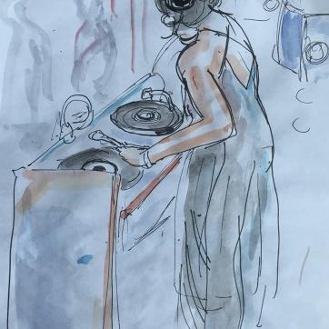 DJ Emmanuel, Frenchface, watercolor on paper, 7 by 6 in. Emilia Kallock 2017