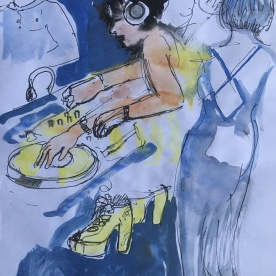 DJ Emmanuel, Frenchface, watercolor on paper, 7 by 6 in. Emilia Kallock 2017