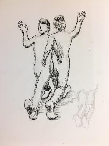 Study for Gargoyles Painting, pen on paper, 12 by 9 in. Emilia Kallock 2017