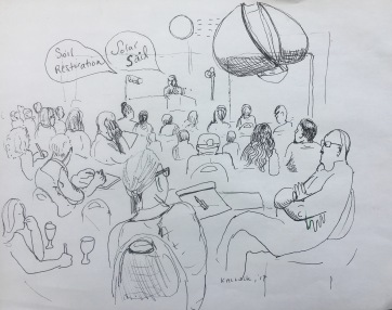 Observing the Frontier Conference Sketch 2, pen on paper, 8 by 20 in. Emilia Kallock, 2017