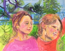 Two Kids in Tree, oil on board, 18 by 24 in. Emilia Kallock 2017