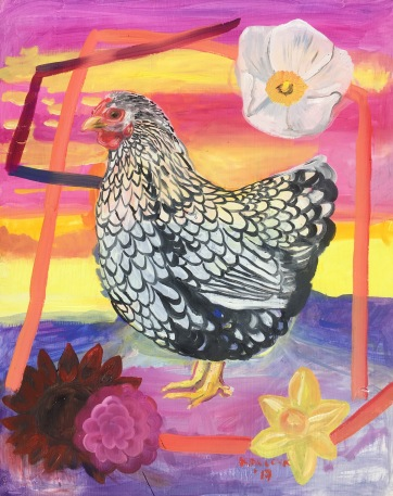 Chicken with Flowers and Futuristic Structures, oil on board, 14 by 18 in. Emilia Kallock 2017 When chickens can be respected as animals that give us food, and we can provide them with sunlight, space and humane growing environments we will also benefit as humans.