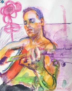 Agape, watercolor on paper, 13 by 11 in. Emilia Kallock 2017