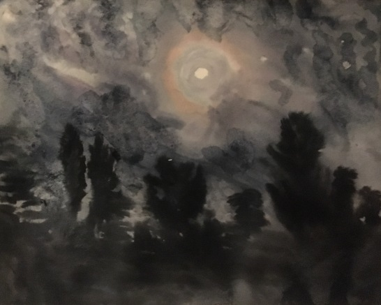 Full Moon (May) watercolor on paper, 18 by 24 in. Emilia Kallock 2017 It was a light breezy night outside my studio door, and I captured this scene of the moon, because I find paintings of the night mysterious and unique. The night sounds found their way into the moment. They remind us that it's night on the other side of the world.