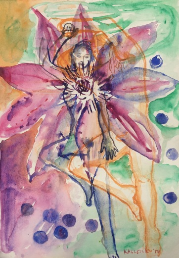 Eros Among Clematis and Blueberries, watercolor on paper, Emilia Kallock, 2017