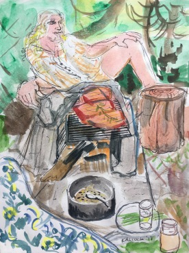 Lounging Forest Salmon Picnic, watercolor and pen on paper, 12 by 9 in. Emilia Kallock, 2017