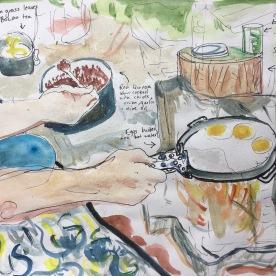 Masculino y Desayuno, watercolor and pen on paper, 9 by 12 in. Emilia Kallock, 2017