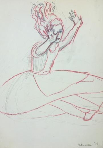 Alice, Sketch, pencil on paper, 8 by 6 in. Emilia Kallock 2017