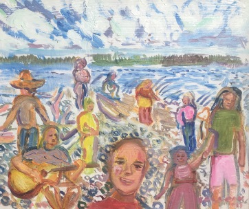 People on Beach, oil on board plein aire, 10 by 10 in. Emilia Kallock 2017 Done plein aire on Whidbey Island, WA of a group of school children and parents.