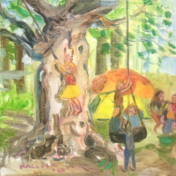 Children and Tree, oil on board, 11 by 11 in. Emilia Kallock 2017 Plein aire of students outdoors, Whidbey Island WA.