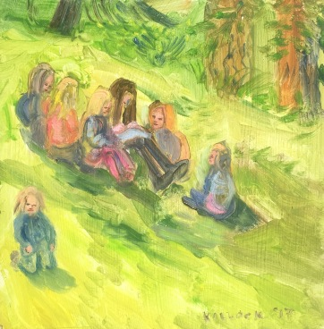 Children Drawing, oil on board, 10 by 10 in. Emilia Kallock 2017 plein aire of students outdoors.