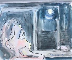 Moon Gaze Sketch, watercolor and pen on paper, Emilia Kallock 2017