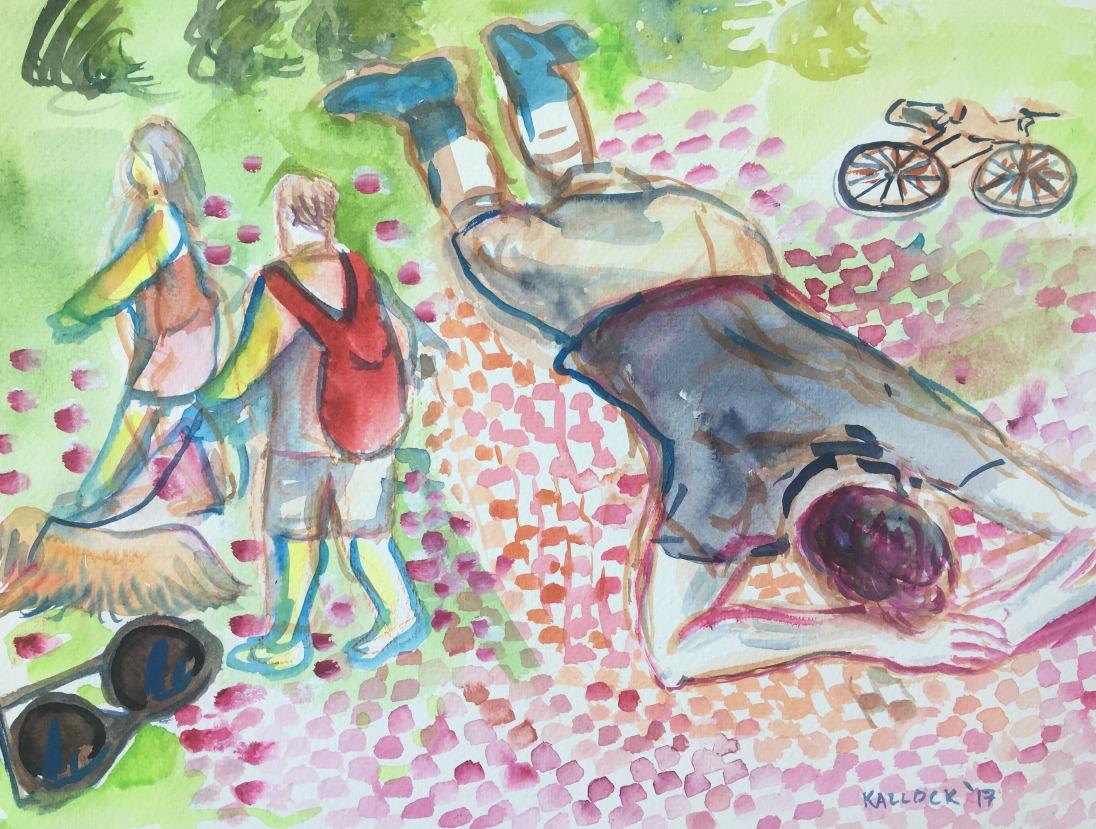 Nicolas on Picnic Blanket, watercolor on paper, 9 by 12 in. Emilia Kallock 2017