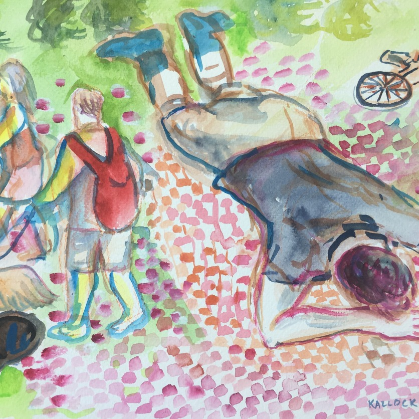 Nicolas on Picnic Blanket, watercolor on paper, 9 by 12 in. Emilia Kallock 2017