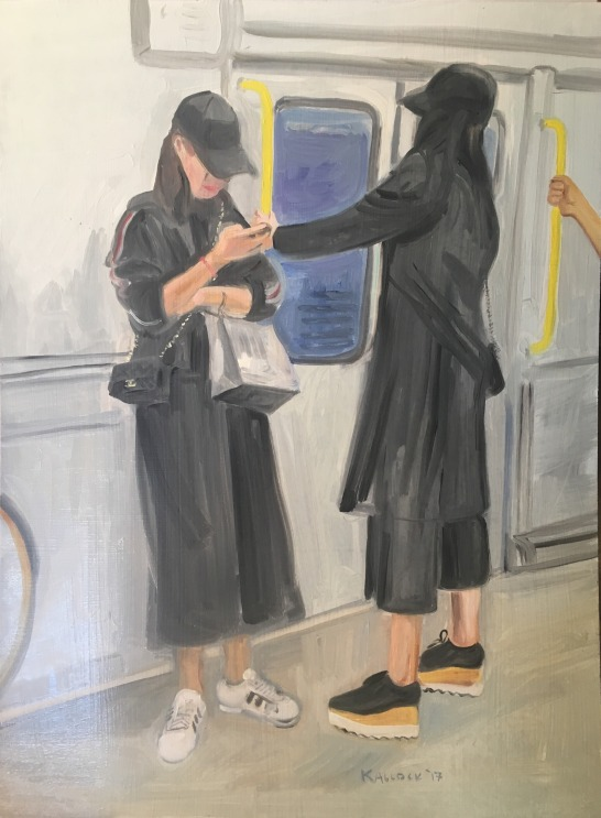 Women on the Metro, Vancouver, oil on board, 24 by 18 in. Emilia Kallock 2017 I saw these two well dressed and impatient looking Asian ladies on the metro in Vancouver, Canada, and just had to paint them.