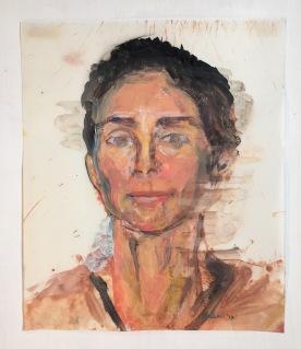Self Portrait, acrylic on vellum, 16 by 12 in. Emilia Kallock 2017